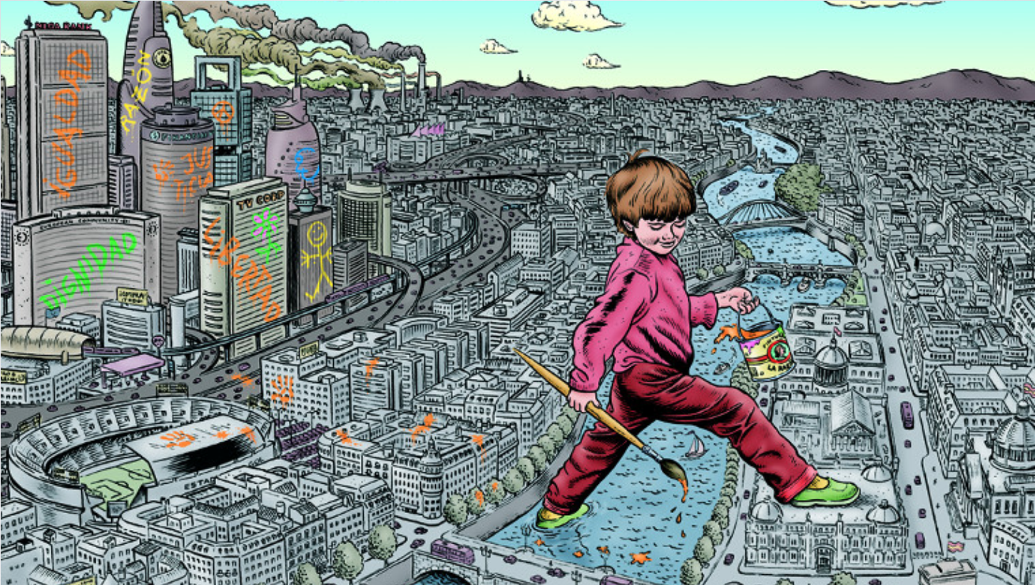 Cartoon drawing of a giant toddler walking across the Thames with a paint bucket in his hand. Behind him, iconic London skyscrapers have painted infantile drawings on them.