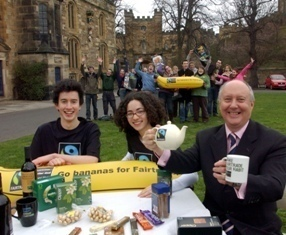 Durham University Vice-Chancellor, Professor Sir Kenneth Calman takes tea with students Aron Kilkenny-Fletcher and Ceri Hendy to celebrate the university?s new Fairtrade status.