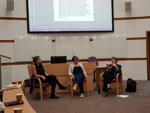 Dr. Fiona Vera-Gray, Prof. Liz Kelly and Prof. Jan Jordan discussing feminist self-defence at a recent CRiVA event