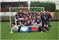 2007/8 Men's 1st Hockey team with coaches and Senior Coach, Gavin Featherstone