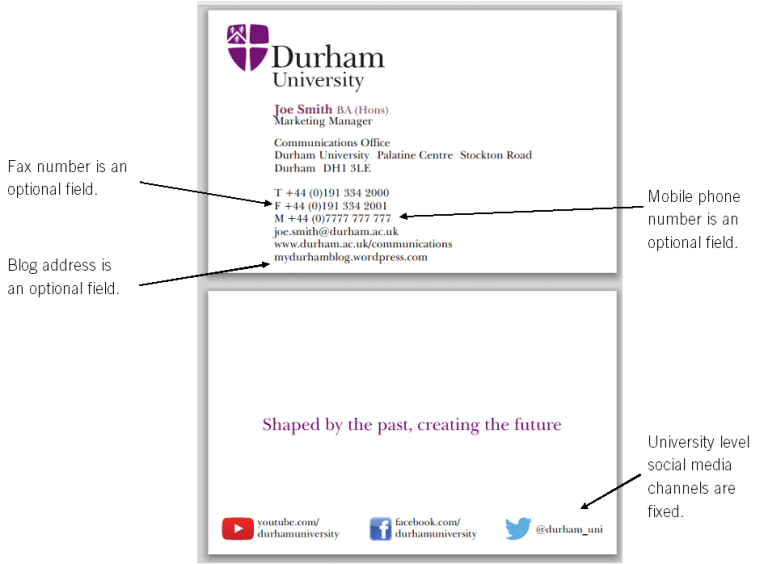 Communications Office Ordering Durham University Branded - Business card template uk