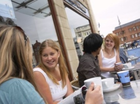 Students enjoying coffee in Stockton