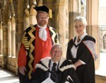 Thomas Wilkinson and Karen Wilkinson-Bell with Chancellor Bill Bryson