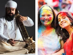 Indian musician Kirpal Singh Panesar on an Indian bowed instrument, and two young women covered in coloured powder, as part of the Holi powder throwing celebrations