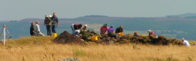 view of community excavation on a hillside in Northumberland