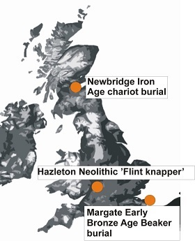 Topographic map of Britain showing locations of burials