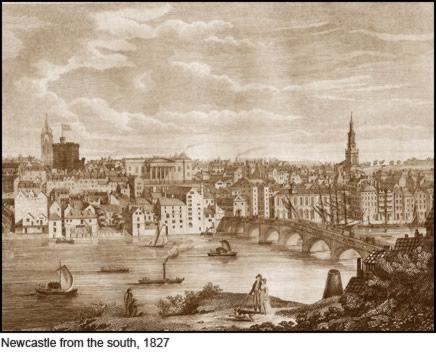 Newcastle from the south, 1827