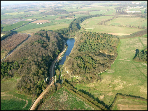 Creswell Crags from the air, looking east. Photo courtesy Creswell Heritage Trust.