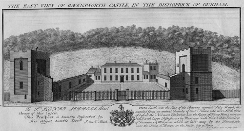 East view of Ravensworth Castle, in the Bishoprick of Durham, 1728