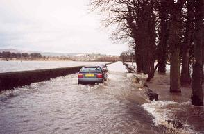 Cars in serious flooding