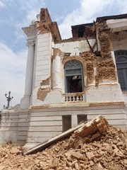 Damage to a structure in Hanuman Dhoka durbar square