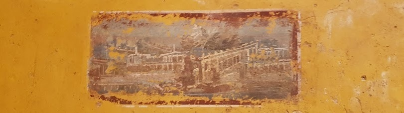 Wall painting showing villa landscape