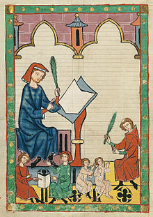 Codex Manesse, fol. 292v, 'The Schoolmaster of Esslingen' (Der Schulmeister von Eßlingen), Wikipedia