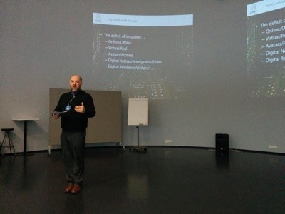 Pete Phillips giving keynote in Finland