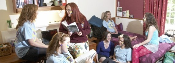Hatfield students congregate in a Hatfield bedroom