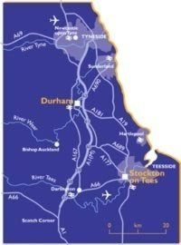Schematic map showing Durham's position relative to other cities in the UK.