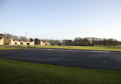 Looking back over the car park and grounds
