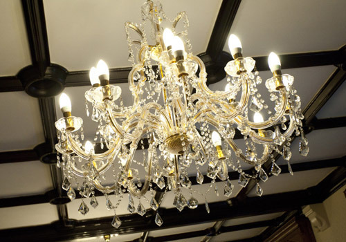 Chandelier in the formal dining room
