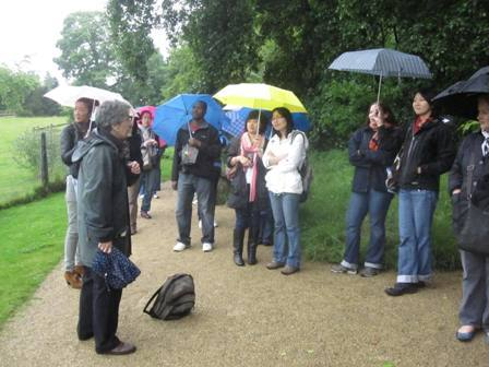 Students enjoy the British weather during an organised day trip, July 2011