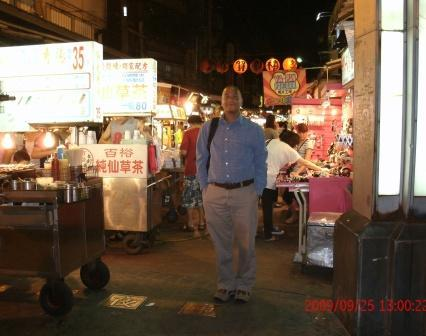 Dr Remedios visits Taipei's night market on a recent visit to see our Taiwanese IPP students