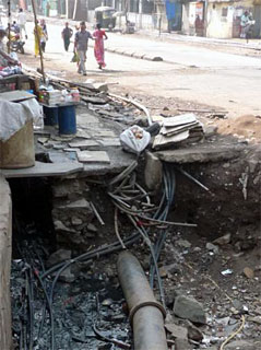 Water pipes destroyed in BMC raids, Rafinagar.