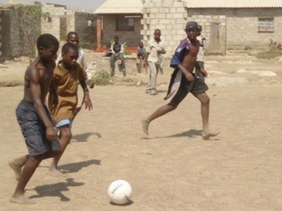 A football game in Zambia. Picture: Iain Lindsey