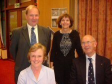 Photograph of John Lindley (lower right) with Iain Stinson, Lesle Beddie, and Jackie Bettess in October 2004
