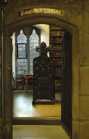 Entrance into the Bamburgh Library at Palace Green Library, Durham University