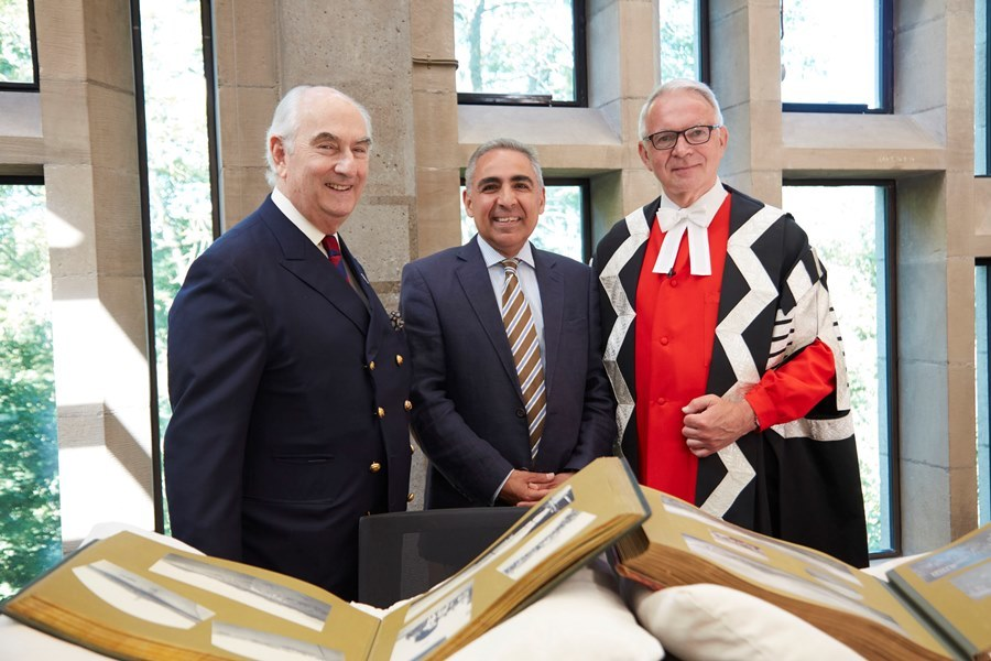 Image of Prince Abbas Hilmi, Chairman of the Trustees of the Mohamed Ali Foundation, Professor Anoush Ehteshami, and Vice-Chancellor Professor Stuart Corbridge, at the inauguration of the Mohamed Ali Foundation Fellowship programme on 29 June 2018.