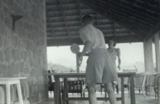 British officials playing table tennis on the veranda of a house from the collection of P.P. Howell