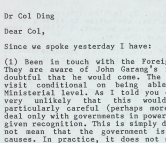 The letter between P.P. Howell and Col Ding outlines the details of a visit by John Garang to London, 15 Mar 1989