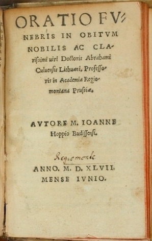 Image of the title page of Hoppe's oration. (Ref: Routh 60.F.27/3)