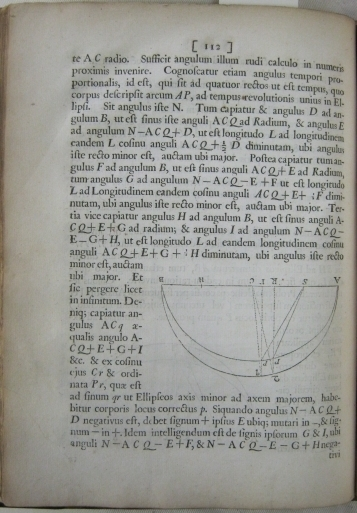 Image of inverted diagram, page 112 from Newton's work. Ref: SB+ 0032.