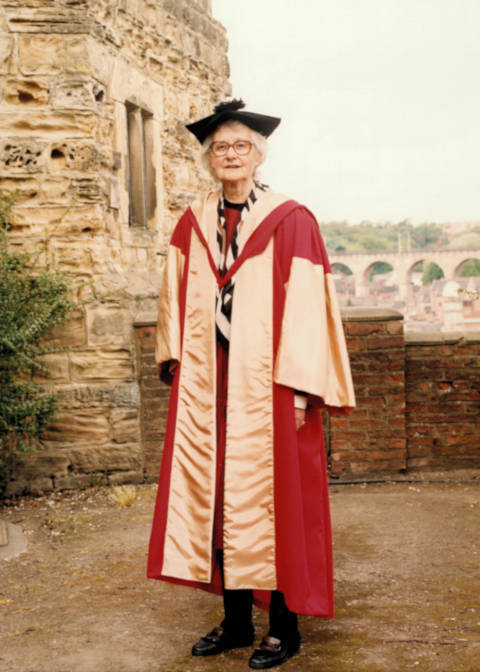 Mary Midgley, in academic dress for receipt of Honorary D.Litt., at Castle, Durham University