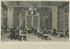 View of Bishop Cosin's Library, showing students taking exams [1842].