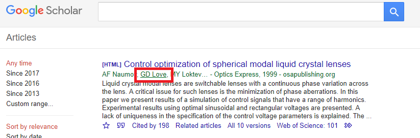 Google Scholar Result with an author linked to a Google Scholar Author Profile