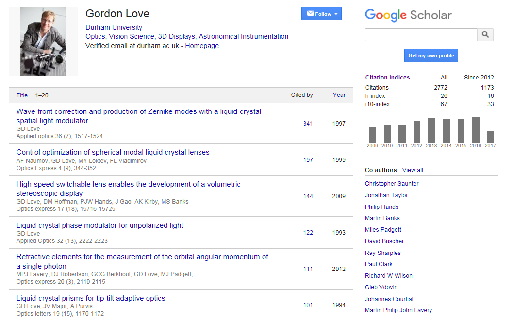 Google Scholar Author Profile