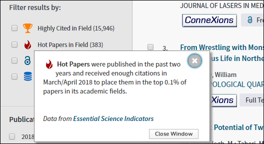 Web of Science Hot Papers