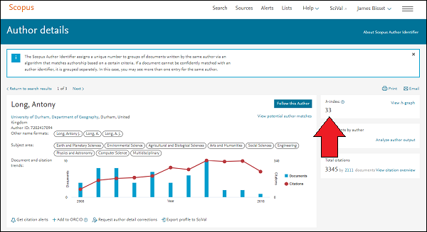 Scopus author details page