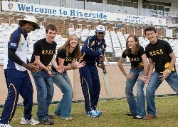 Left to right on the boundary at the Durham CCC Riverside Ground: Lasith Malinga, Cameron Salter, Helen Armstrong, Upul Tharanga (with bat), Caroline Le Breton and Marc Stewart