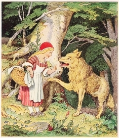 Painting of Red Riding Hood and Woolf