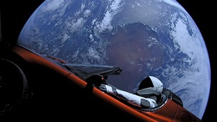 Famous red sports car and planet earth in background
