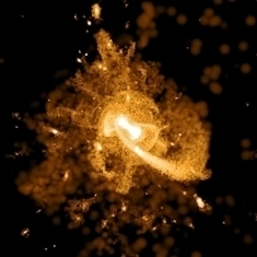 Simulation showing a Milky Way-like galaxy around five billion years ago