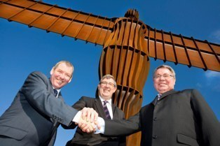 Alan Clarke, Chris Higgins and Chris Brink, at the Angel of the North