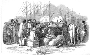 Irish emigrants sitting on the dockside in Cork in 1851: Copyright - The Illustrated London News/Mary Evans Picture Library