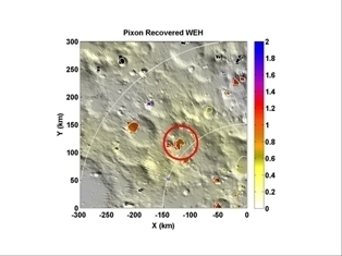 Map showing south polar region of the moon and target crater Cabeus. Copyright: Dr Vincent Eke, Durham University/NASA
