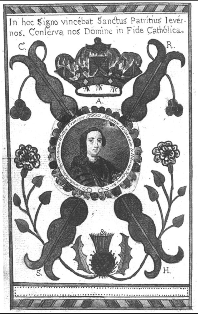 Engraved portrait of Charles Edward Stuart surrounded by Jacobite symbols, from The Evening-Office of the Church (1773), facing p.291