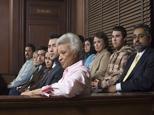 A jury in court