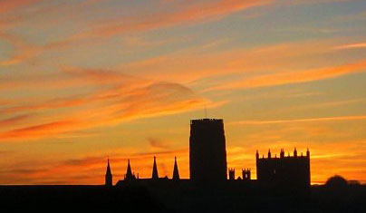 Durham Cathedral at dusk