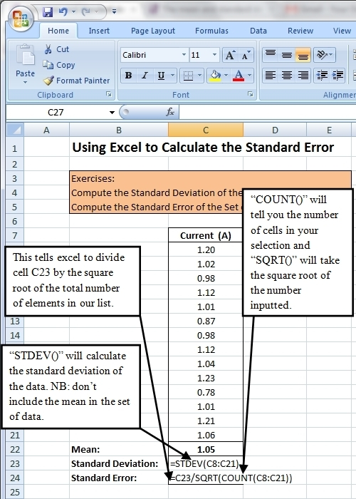 how to add standard deviation in excel